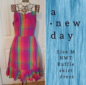 Vibrant plaid ruffle a-line knee length dress
